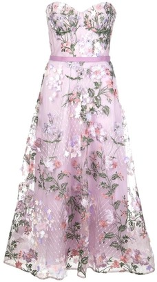 Marchesa Notte Strapless 3D Floral Embroidered Tea Length