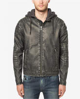 Buffalo David Bitton Men's Faux Leather Hooded Moto Jacket