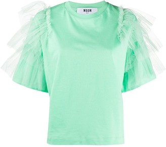 MSGM ruffle-sleeved T-shirt
