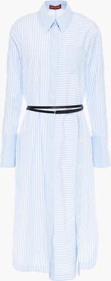Altuzarra Belted Striped Cotton-poplin Midi Shirt Dress
