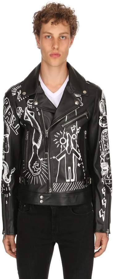 Diesel Black Gold Graffiti Printed Leather Biker Jacket