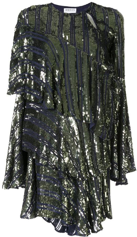 Osman Tina sequin asymmetric-tiered dress