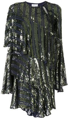 Osman Tina sequin asymmetric-tiered dress