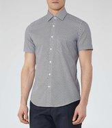 Reiss Capri - Printed Short Sleeve Shirt in Blue, Mens