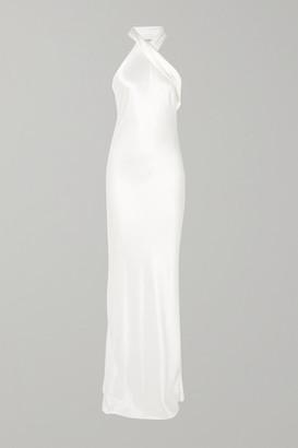 Galvan Silk-satin Halterneck Gown - White