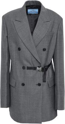 Prada Double-breasted Belted Checked Wool Blazer