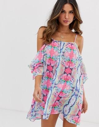 UNIQUE21 marble print chiffon cold-shoulder dress-Multi