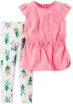Carter's 2-Pc. Flutter-Sleeve Eyelet Tunic and Floral-Print Leggings Set, Baby Girls (0-24 months)