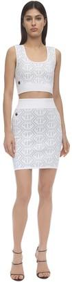 Philipp Plein Pp Logo Lurex Intarsia Knit Top & Skirt