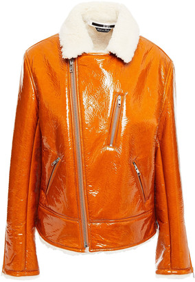McQ Zip-detailed Crinkled Coated-shearling Biker Jacket