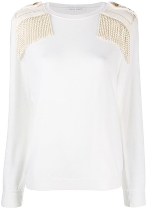 Alberta Ferretti Fringed Shoulder Sweater