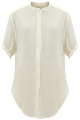 Saint Laurent Metallic-stripe Wool-blend Blouse - White Gold