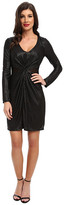 ABS by Allen Schwartz L/S Twist Front Gloss Foil Jersey Wrap Dress