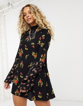 Free People Tate printed tunic dress in black