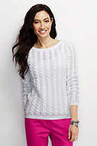 Lands' End Women's Tall Drifter Cable Pointelle Sweater-White