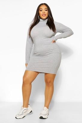 boohoo Plus Long Sleeve Roll Neck Mini Bodycon Dress