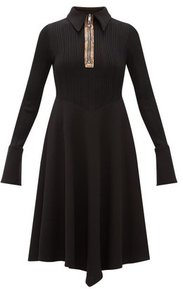 Ellery Calabasas Half-zip Point-collar Jersey Dress - Womens - Black