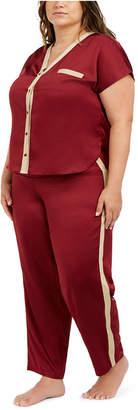 INC International Concepts I.n.c. Plus Size Metallic-Trim Pajama Set