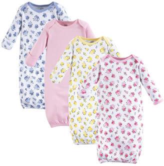 Luvable Friends Cotton Gowns, 4-Pack, Floral, 0-6 Months