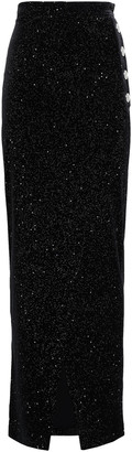Balmain Wrap-effect Button-embellished Glittered Velvet Maxi Skirt