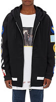 Off-White Men's Patch-Embroidered Cotton Fleece Oversized Hoodie-BLACK, NAVY