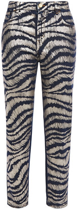 Just Cavalli Cropped Metallic Zebra-print High-rise Straight-leg Jeans