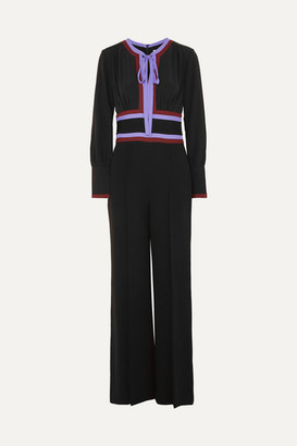 Diane von Furstenberg Elkie Striped Silk-crepe Jumpsuit - Black