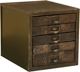 Rejuvenation Worn Industrial 5-Drawer Parts Cabinet c1940