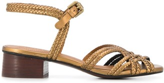 See by Chloe Braided-Strap Block-Heel Sandals