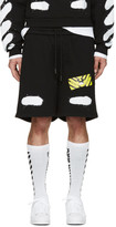 Off-White Black Spray Brushed Diagonals Shorts
