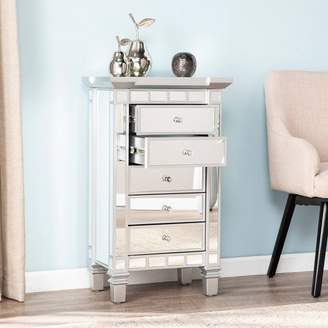 Aiden Lane Lompton Mirrored 5 Drawer Accent Chest Silver