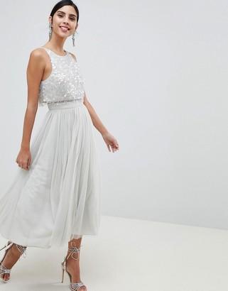 Asos Design DESIGN Tulle Prom Midi Dress With Delicate Embellished Droplets-Blue