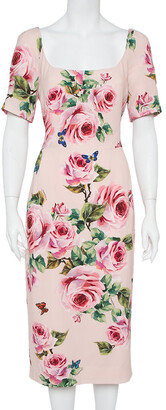 Dolce & Gabbana Pink Floral Printed Crepe Sheath Dress L