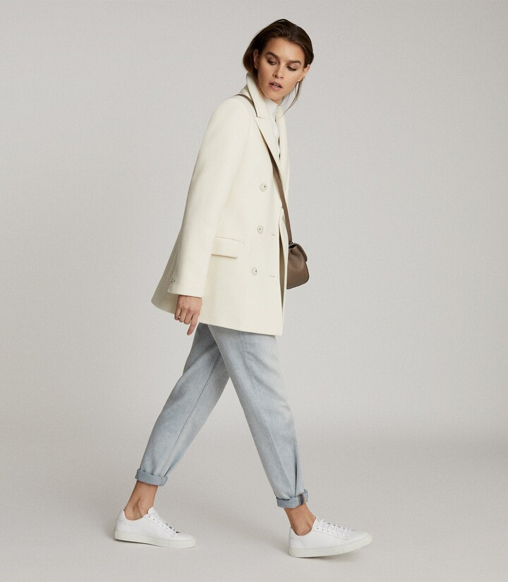 Thumbnail for your product : Reiss Wiles - Wool Blend Peacoat in Cream