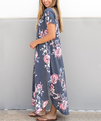 Tickled Teal Women's Maxi Dresses Charcoal - Charcoal Floral Side-Slit Maxi Dress - Women