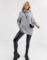Bershka longline roll neck oversized sweater in gray