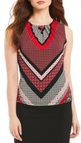 Calvin Klein Mitered Geometric Stripe Print Matte Jersey Pleat Neck Shell
