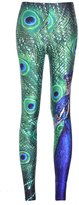 Lady Queen Women's Basic Peacock Print Stretch Skinny Leggings Pants M