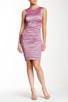 Nicole Miller Sleeveless Ruched Metal Sheath Dress