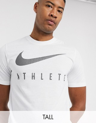 Nike Training Tall athlete swoosh t-shirt in white