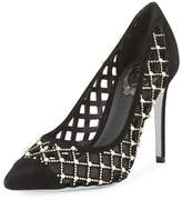 Rene Caovilla Caged Pearlescent Suede Pump, Black