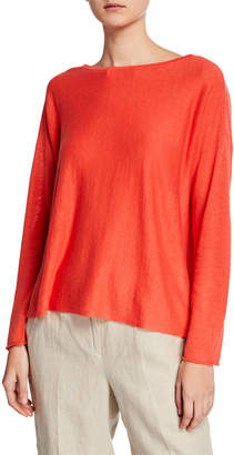 Eileen Fisher Bateau-Neck Long-Sleeve Organic Linen/Cotton Sweater