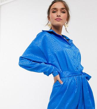 John Zack Petite exclusive collar detail long sleeve playsuit in blue leopard