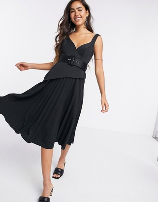 ASOS DESIGN v wire belted pleated skirt cami midi skater dress in black
