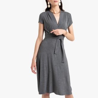 Anne Weyburn Draped Mid-Length Dress with Tie-Waist