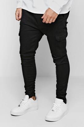 boohoo Mens Black Tapered Fit Cargo Trouser, Black