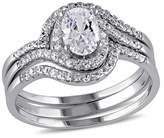 1.93 CT. T.W. Halo Cubic Zirconia Swirl Bridal Set in Sterling Silver