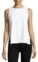 Alice + Olivia Gayle Clean High-Side Slit Tank, White