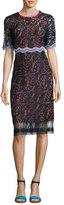 Peter Pilotto Half-Sleeve Lace Sheath Dress, Navy
