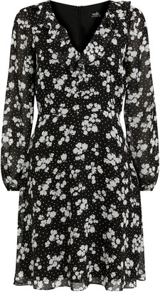 Wallis Black Floral Print Fit and Flare Dress